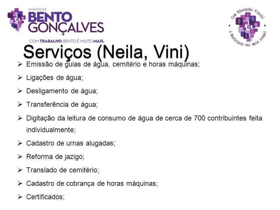 Serviços (Neila, Vini) Emissão de guias de água, cemitério e horas máquinas; Ligações de água; Desligamento de água;