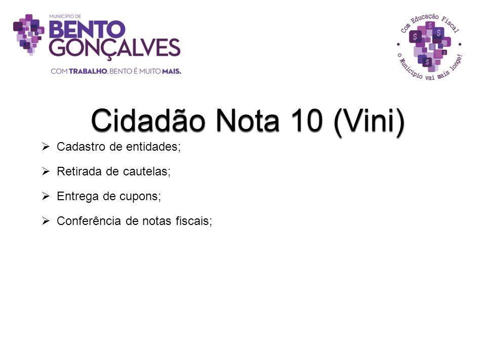 Cidadão Nota 10 (Vini) Cadastro de entidades; Retirada de cautelas;