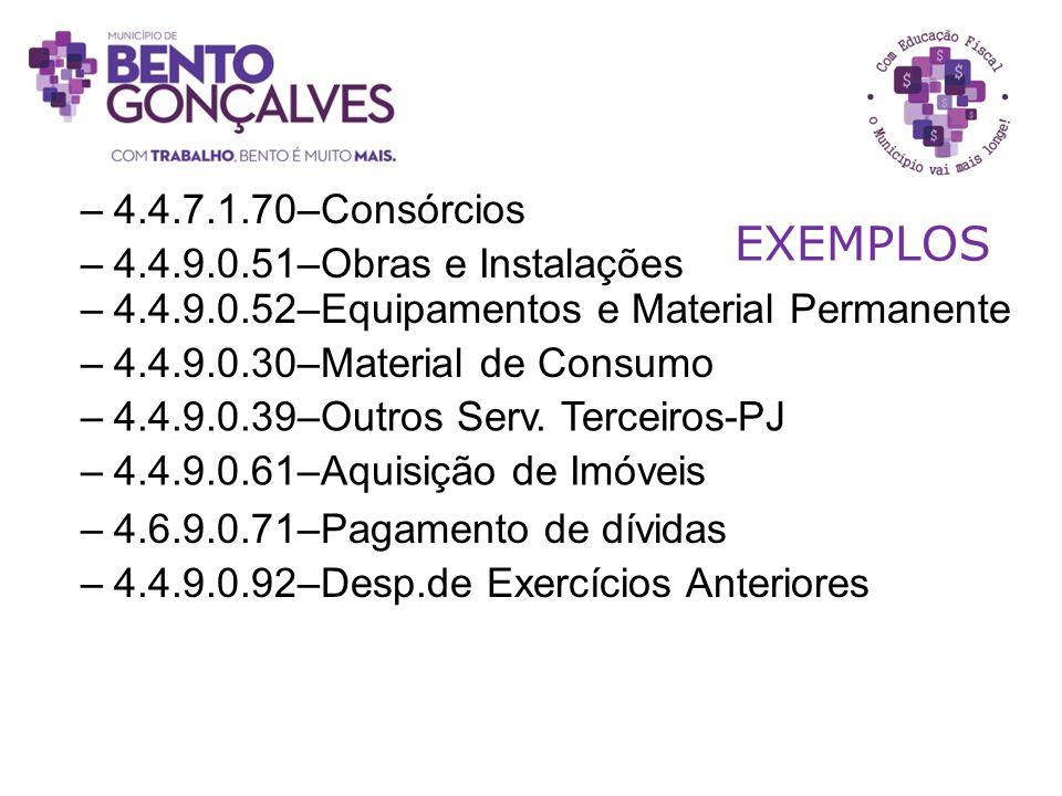 EXEMPLOS 4.4.7.1.70–Consórcios 4.4.9.0.51–Obras e Instalações