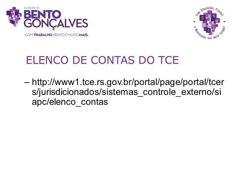 ELENCO DE CONTAS DO TCE http://www1.tce.rs.gov.br/portal/page/portal/tcers/jurisdicionados/sistemas_controle_externo/siapc/elenco_contas.