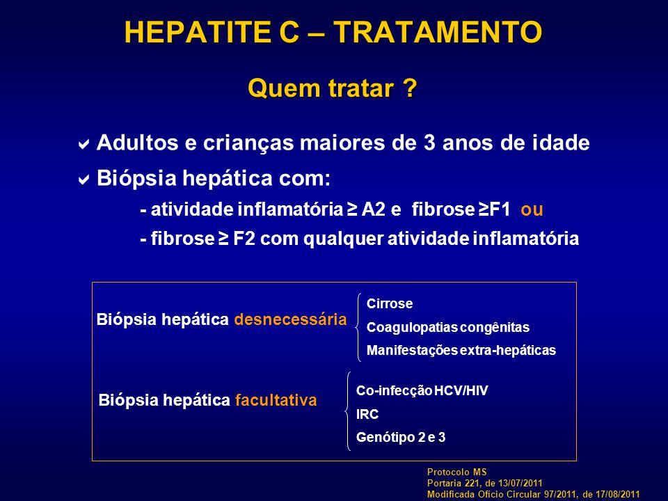 HEPATITE C – TRATAMENTO Quem tratar