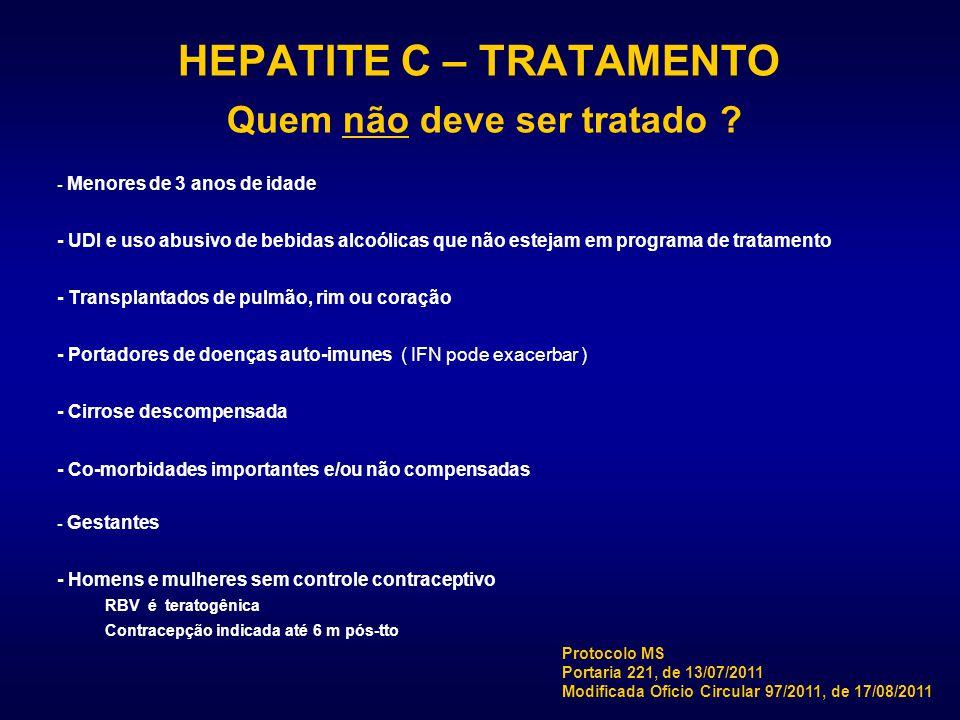 HEPATITE C – TRATAMENTO Quem não deve ser tratado