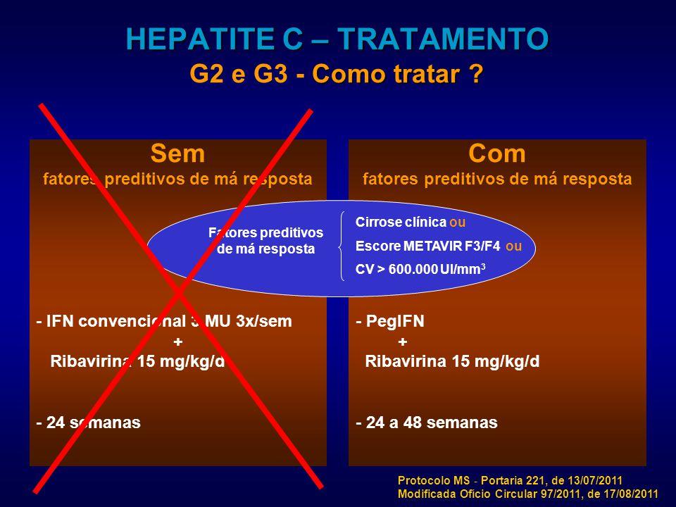 HEPATITE C – TRATAMENTO G2 e G3 - Como tratar