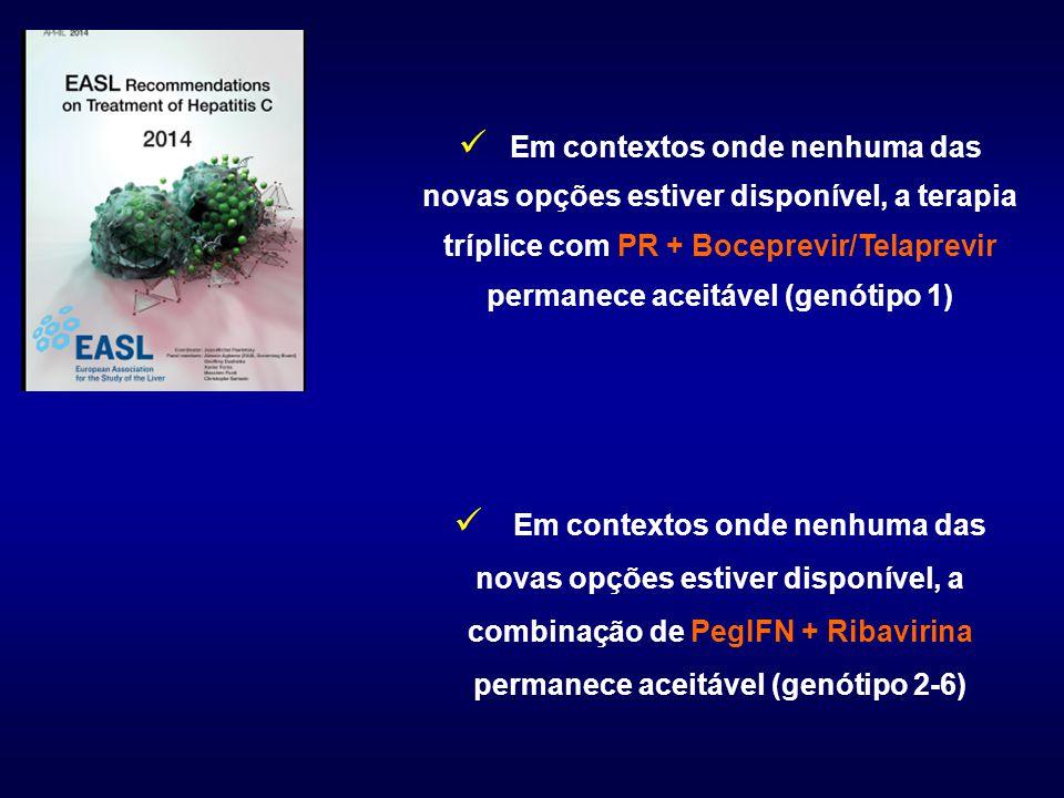 Em contextos onde nenhuma das novas opções estiver disponível, a terapia tríplice com PR + Boceprevir/Telaprevir permanece aceitável (genótipo 1)