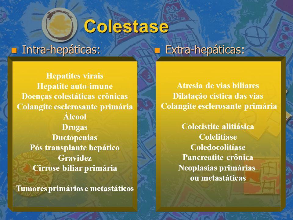 Colestase Intra-hepáticas: Extra-hepáticas: Hepatites virais