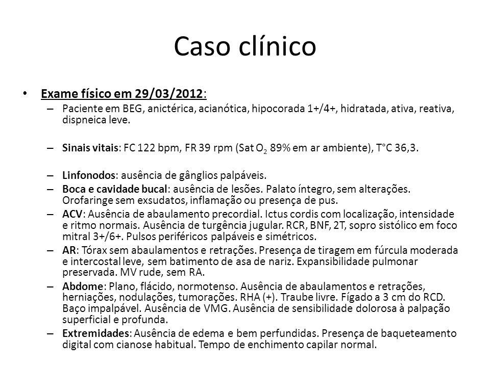 Caso clínico Exame físico em 29/03/2012: