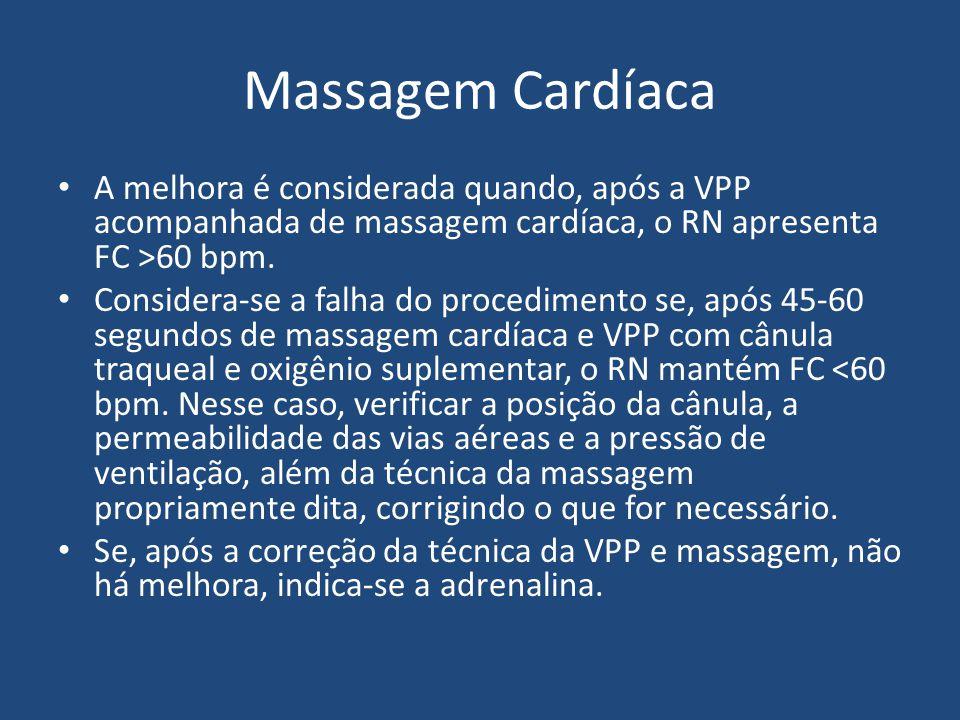 Massagem Cardíaca A melhora é considerada quando, após a VPP acompanhada de massagem cardíaca, o RN apresenta FC >60 bpm.