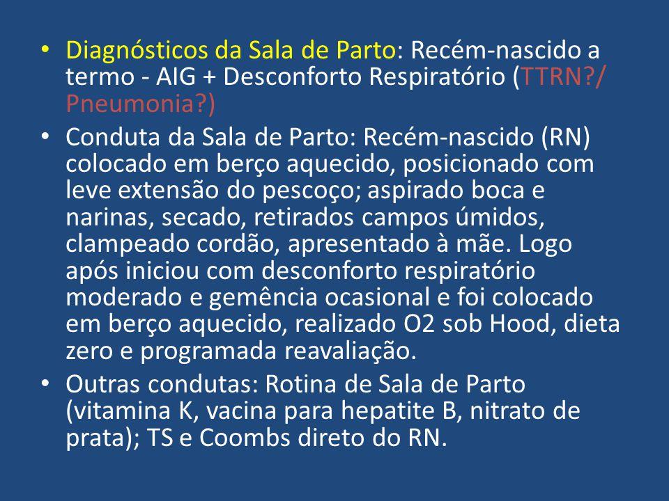Diagnósticos da Sala de Parto: Recém-nascido a termo - AIG + Desconforto Respiratório (TTRN / Pneumonia )