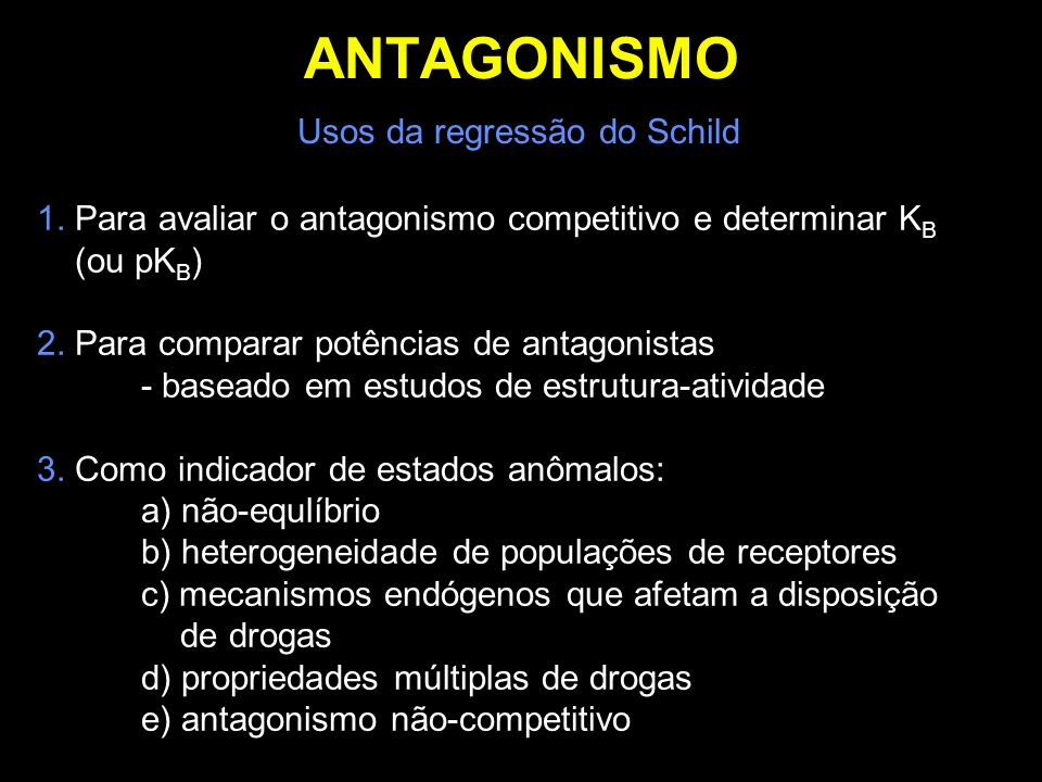 ANTAGONISMO Usos da regressão do Schild