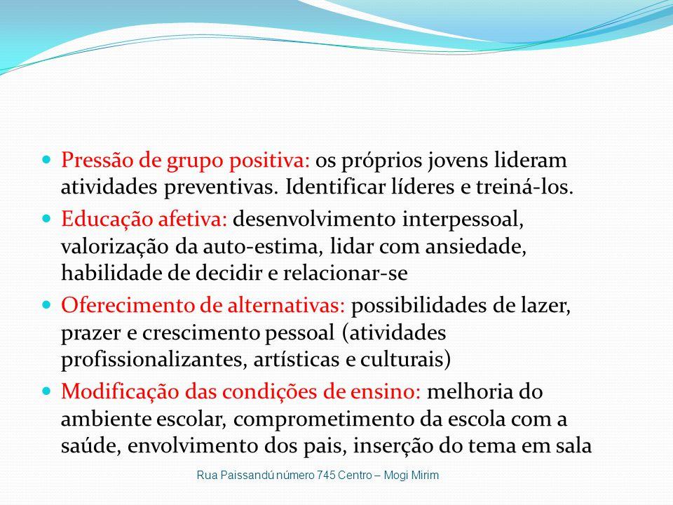 Pressão de grupo positiva: os próprios jovens lideram atividades preventivas. Identificar líderes e treiná-los.
