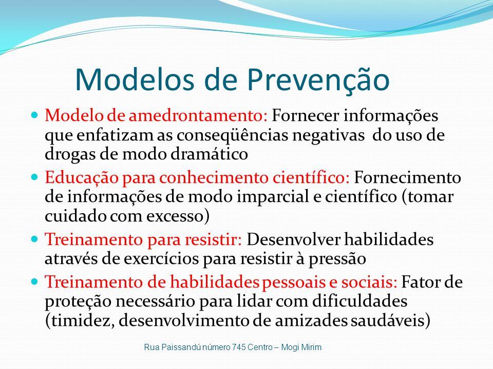Modelos de Prevenção Modelo de amedrontamento: Fornecer informações que enfatizam as conseqüências negativas do uso de drogas de modo dramático.