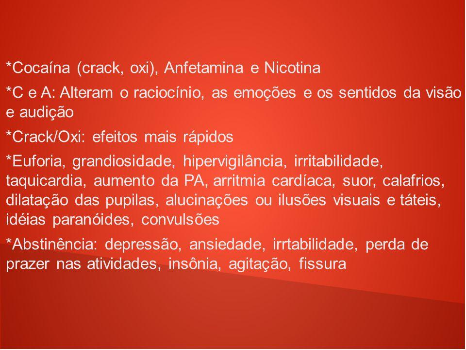 *Cocaína (crack, oxi), Anfetamina e Nicotina