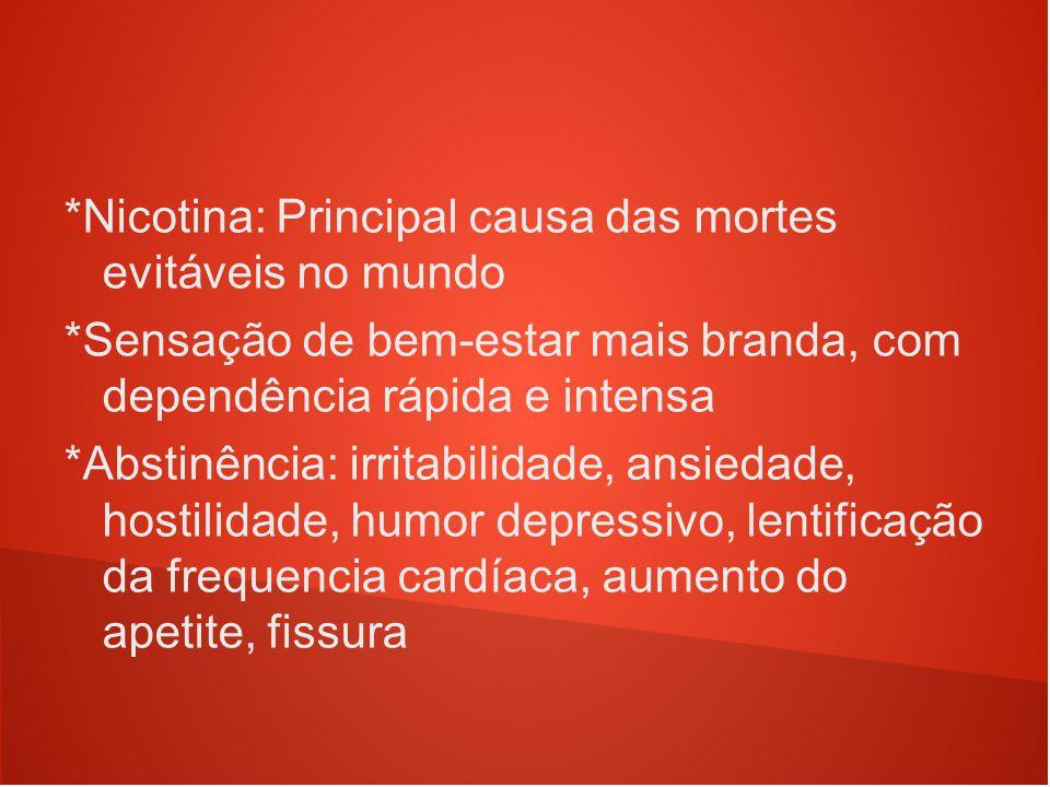 *Nicotina: Principal causa das mortes evitáveis no mundo