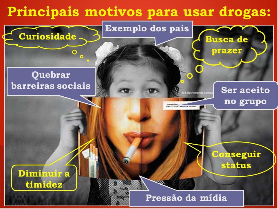 Principais motivos para usar drogas: Quebrar barreiras sociais