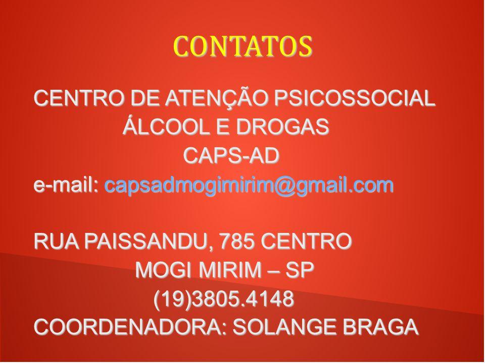 CONTATOS CENTRO DE ATENÇÃO PSICOSSOCIAL ÁLCOOL E DROGAS CAPS-AD