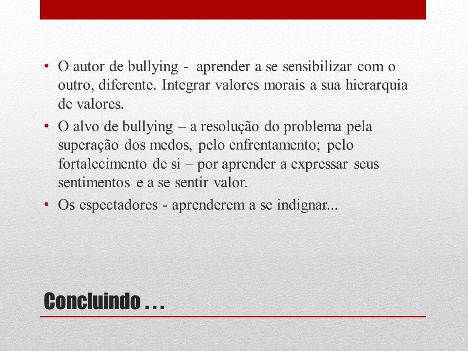 O autor de bullying - aprender a se sensibilizar com o outro, diferente. Integrar valores morais a sua hierarquia de valores.