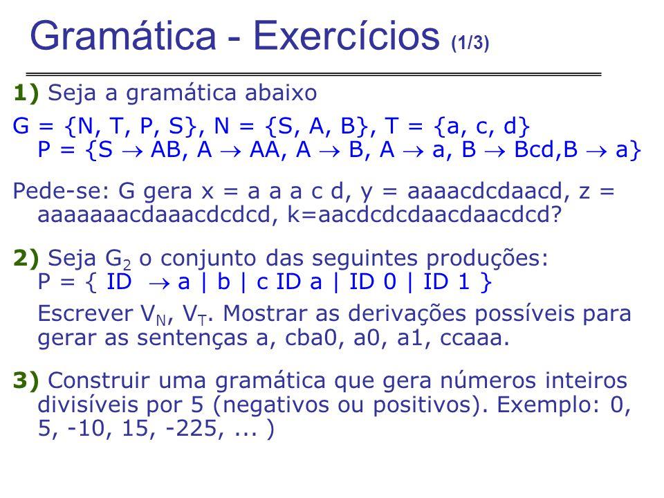 Gramática - Exercícios (1/3)