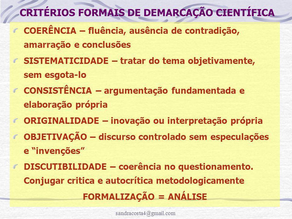 CRITÉRIOS FORMAIS DE DEMARCAÇÃO CIENTÍFICA