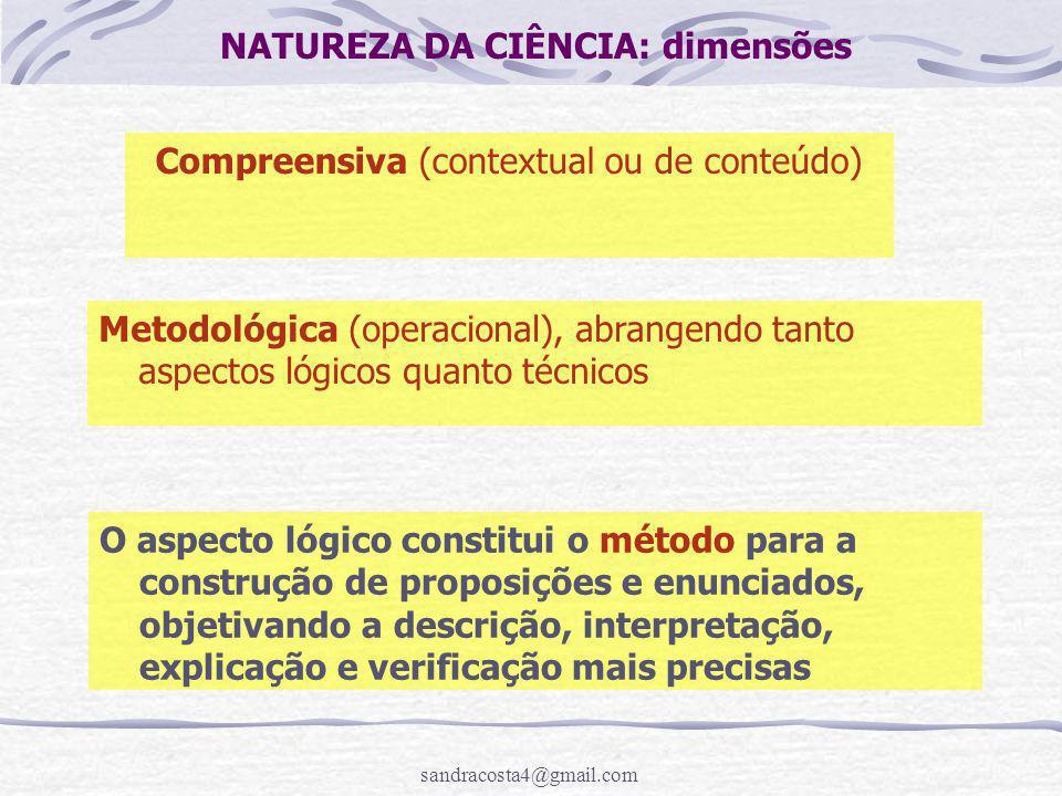 NATUREZA DA CIÊNCIA: dimensões