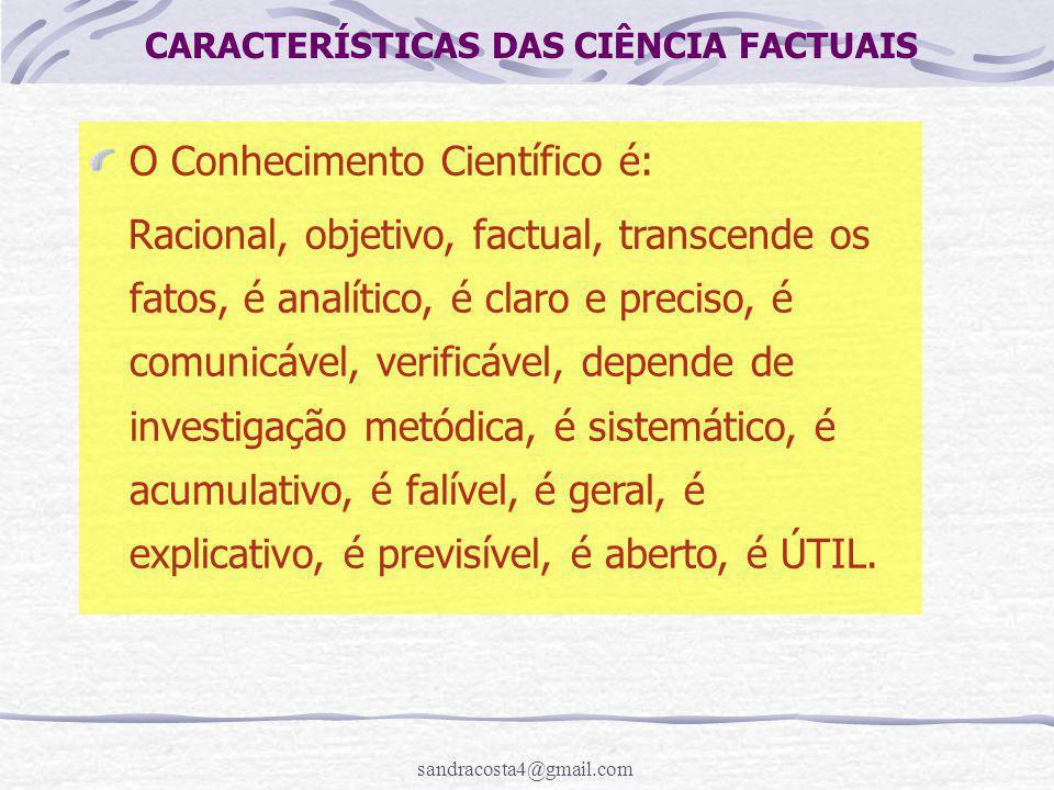 CARACTERÍSTICAS DAS CIÊNCIA FACTUAIS
