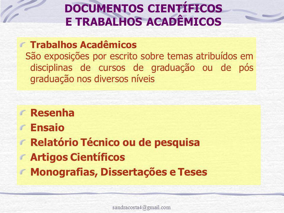 DOCUMENTOS CIENTÍFICOS E TRABALHOS ACADÊMICOS