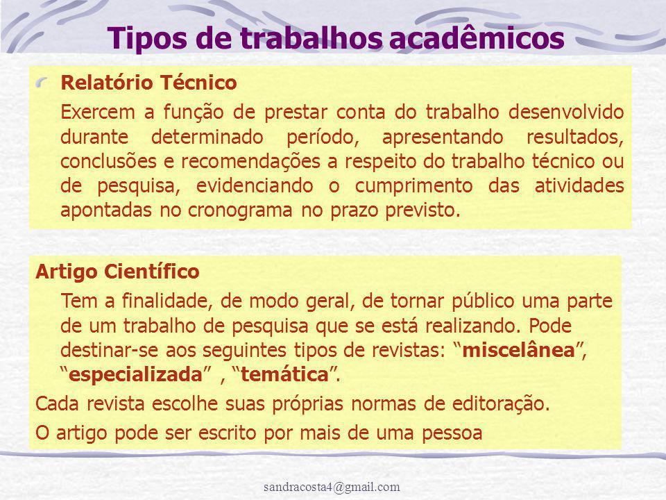 Tipos de trabalhos acadêmicos