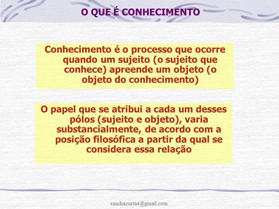 O QUE É CONHECIMENTO Conhecimento é o processo que ocorre quando um sujeito (o sujeito que conhece) apreende um objeto (o objeto do conhecimento)