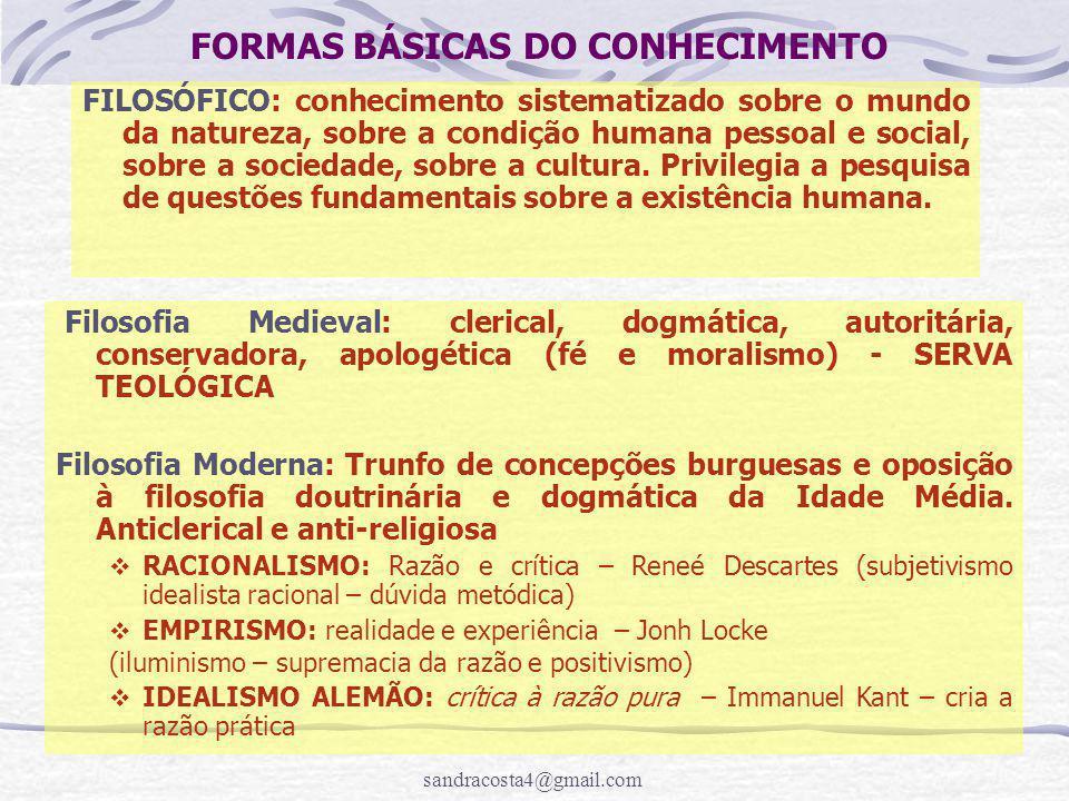 FORMAS BÁSICAS DO CONHECIMENTO