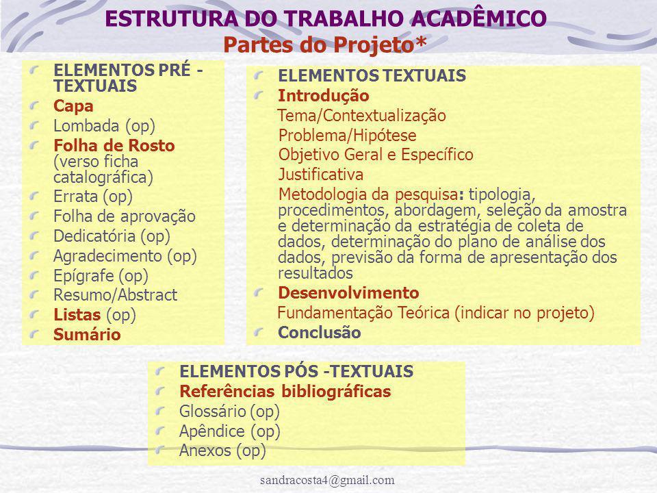ESTRUTURA DO TRABALHO ACADÊMICO Partes do Projeto*