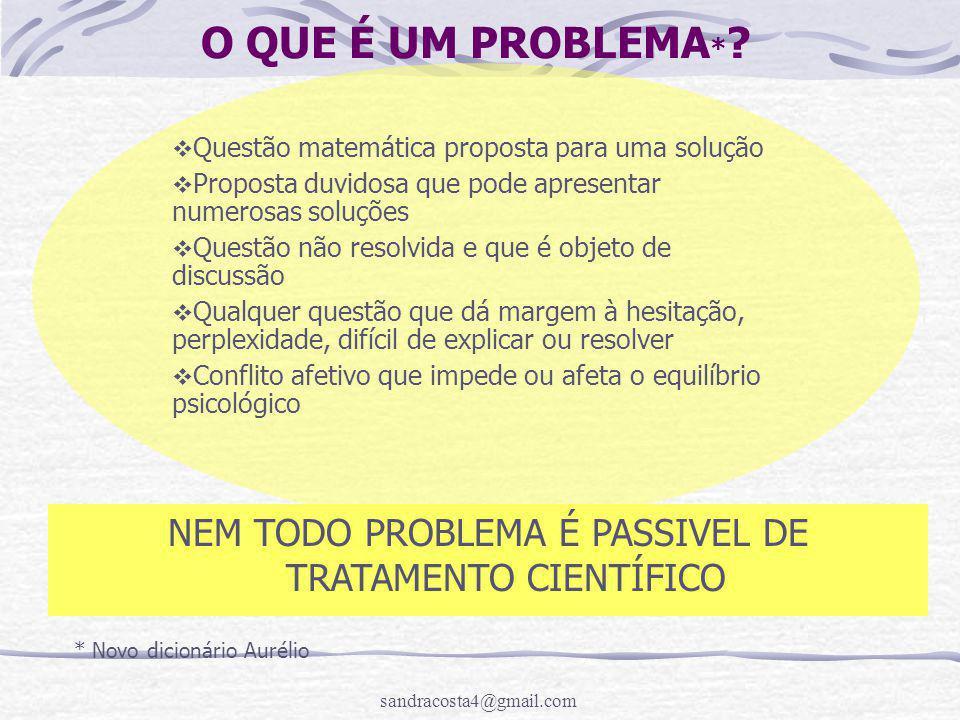 NEM TODO PROBLEMA É PASSIVEL DE TRATAMENTO CIENTÍFICO