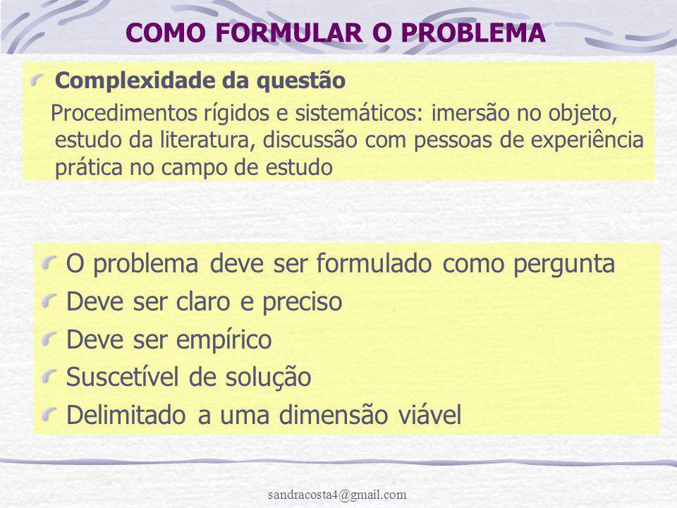 COMO FORMULAR O PROBLEMA