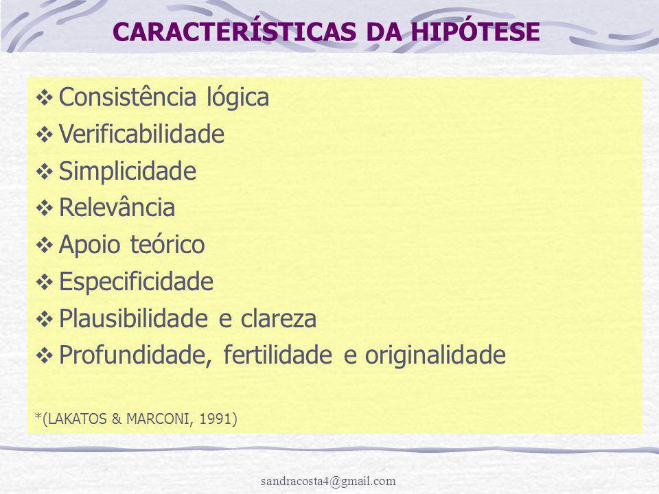 CARACTERÍSTICAS DA HIPÓTESE