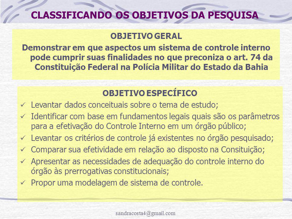 CLASSIFICANDO OS OBJETIVOS DA PESQUISA