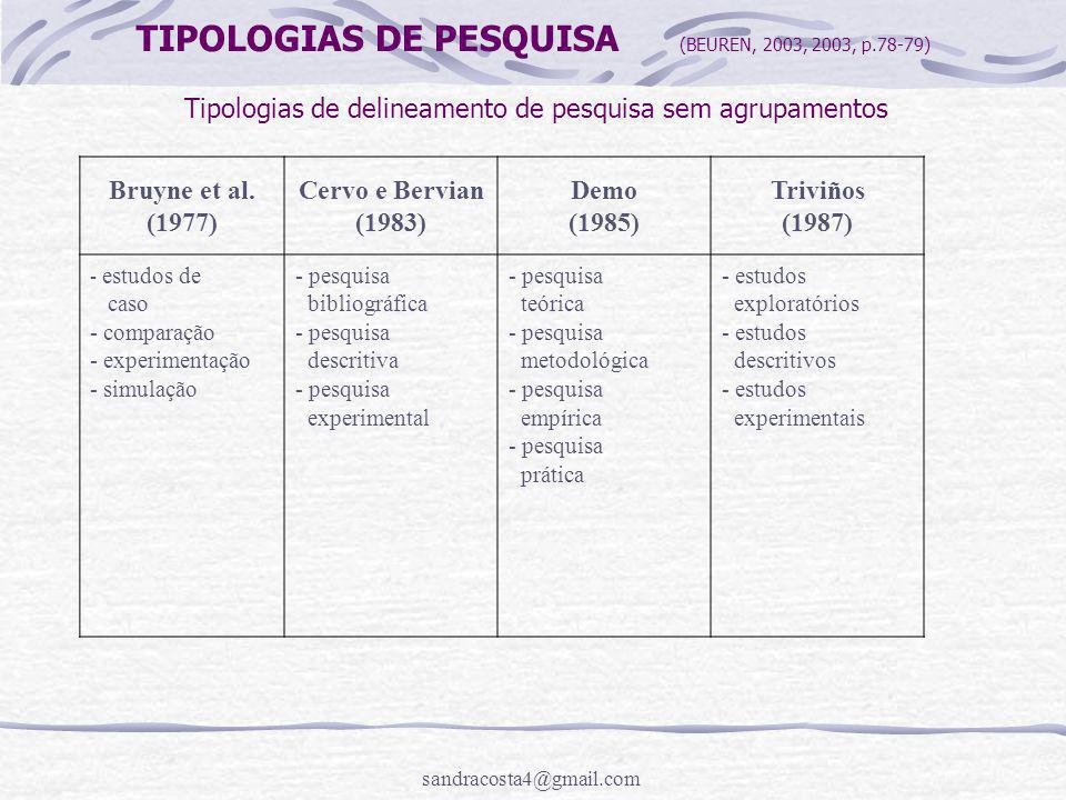 TIPOLOGIAS DE PESQUISA (BEUREN, 2003, 2003, p.78-79)