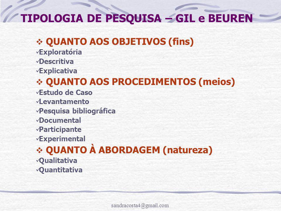 TIPOLOGIA DE PESQUISA – GIL e BEUREN