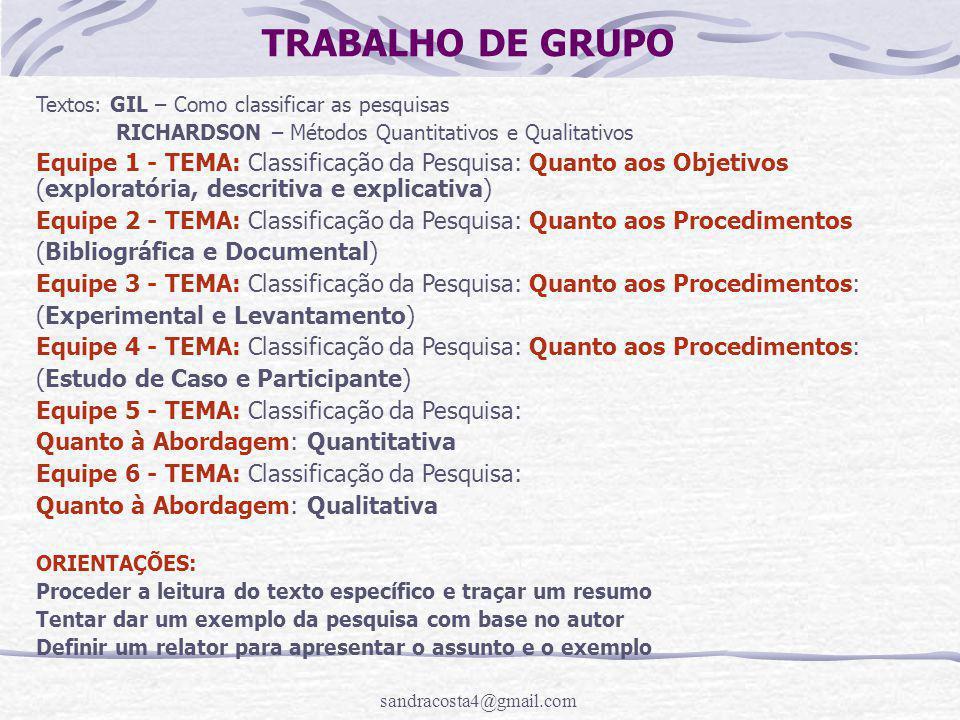 TRABALHO DE GRUPO Textos: GIL – Como classificar as pesquisas. RICHARDSON – Métodos Quantitativos e Qualitativos.