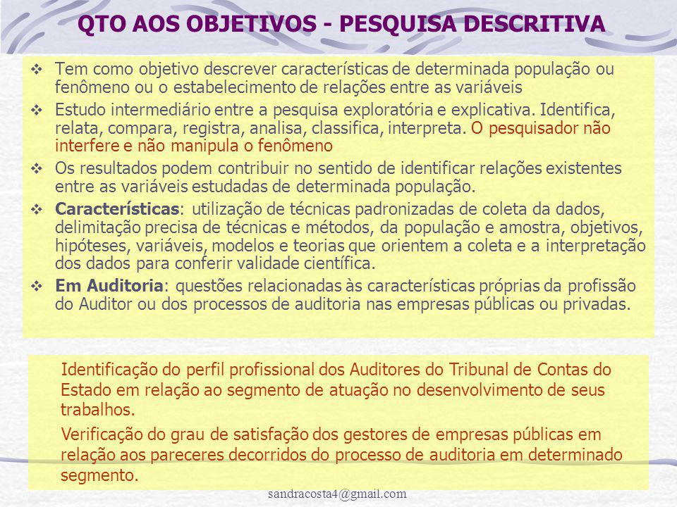 QTO AOS OBJETIVOS - PESQUISA DESCRITIVA