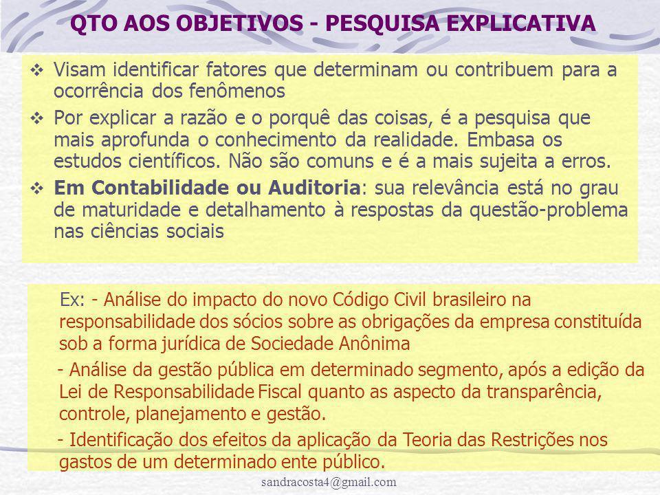 QTO AOS OBJETIVOS - PESQUISA EXPLICATIVA
