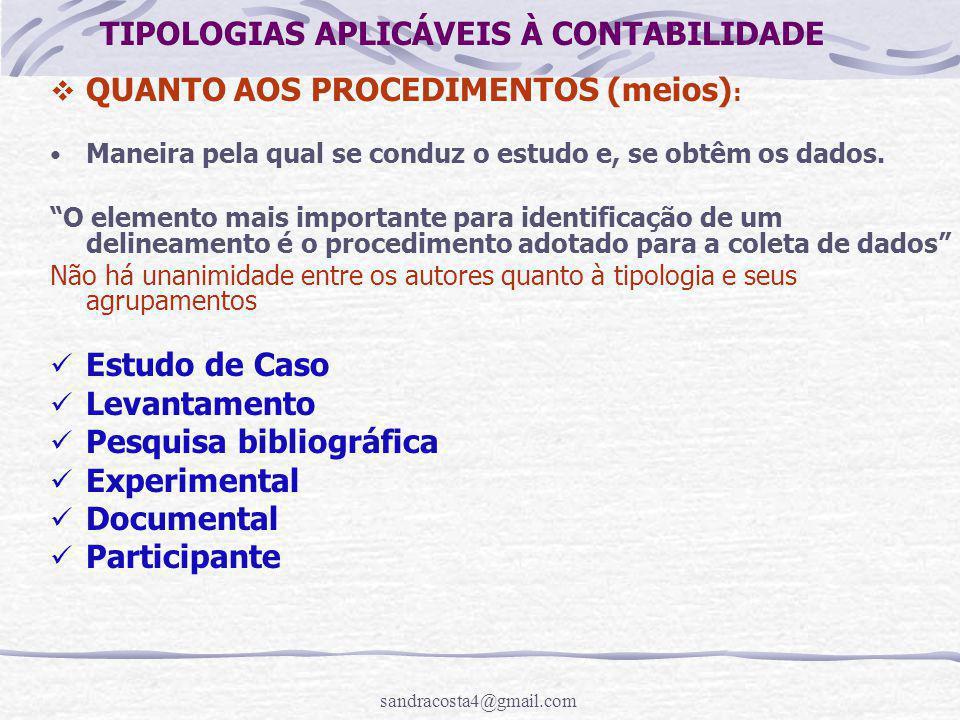 TIPOLOGIAS APLICÁVEIS À CONTABILIDADE