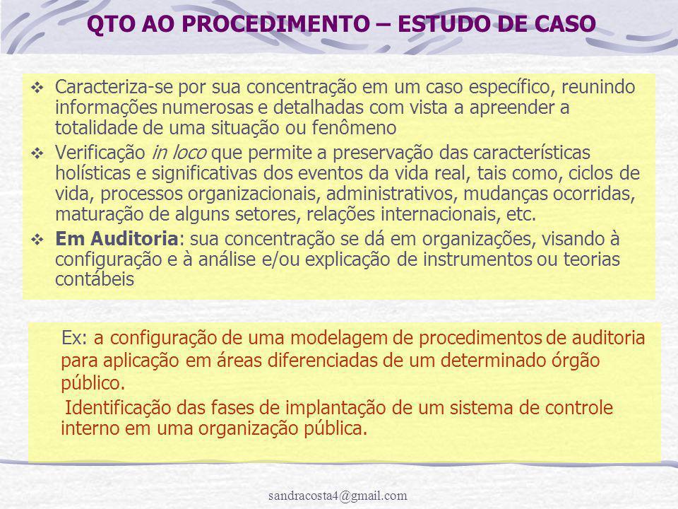 QTO AO PROCEDIMENTO – ESTUDO DE CASO