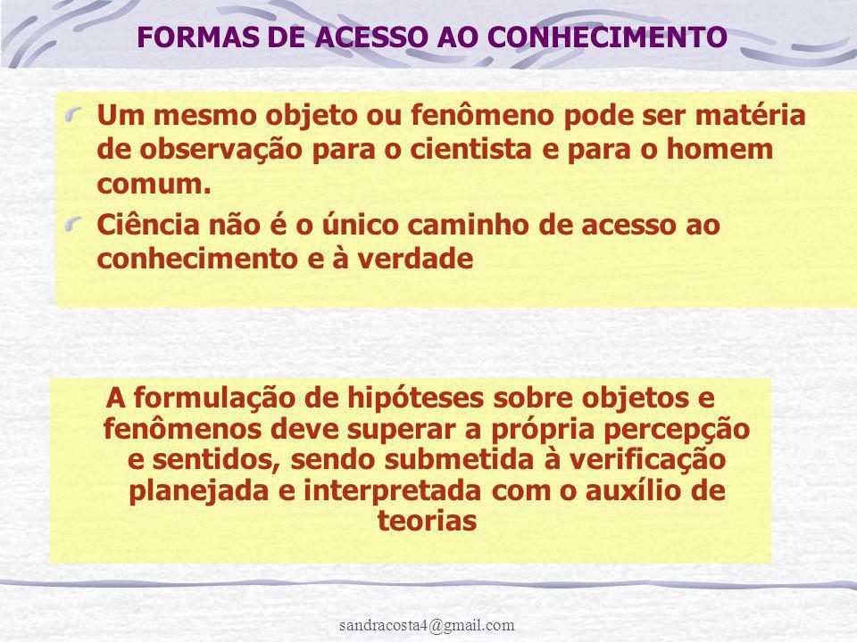 FORMAS DE ACESSO AO CONHECIMENTO