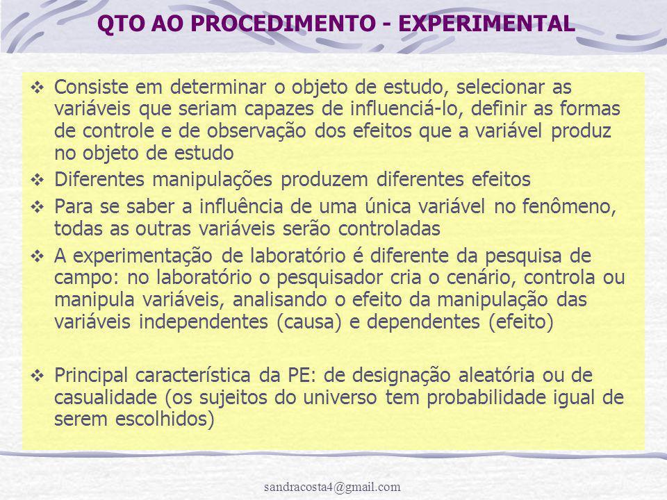 QTO AO PROCEDIMENTO - EXPERIMENTAL