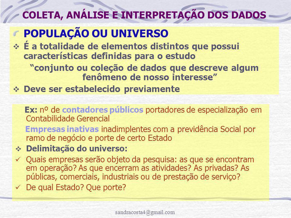 COLETA, ANÁLISE E INTERPRETAÇÃO DOS DADOS