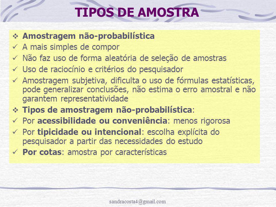 TIPOS DE AMOSTRA Amostragem não-probabilística