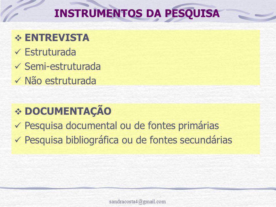INSTRUMENTOS DA PESQUISA