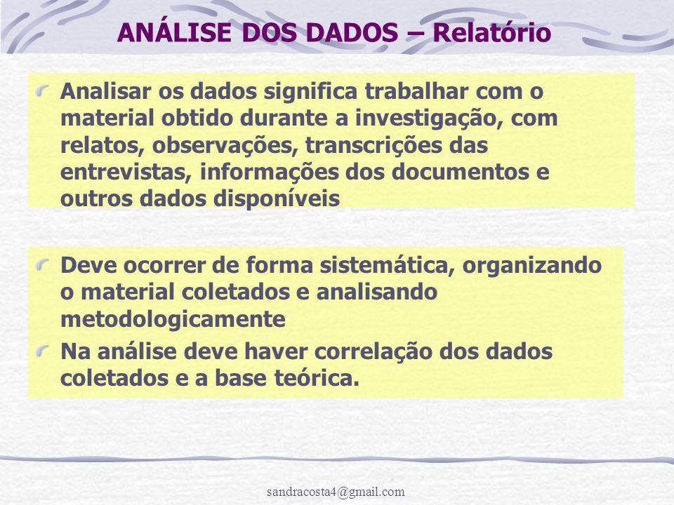 ANÁLISE DOS DADOS – Relatório