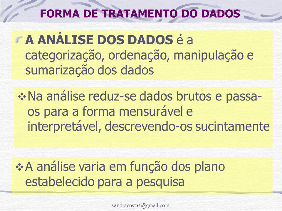 FORMA DE TRATAMENTO DO DADOS