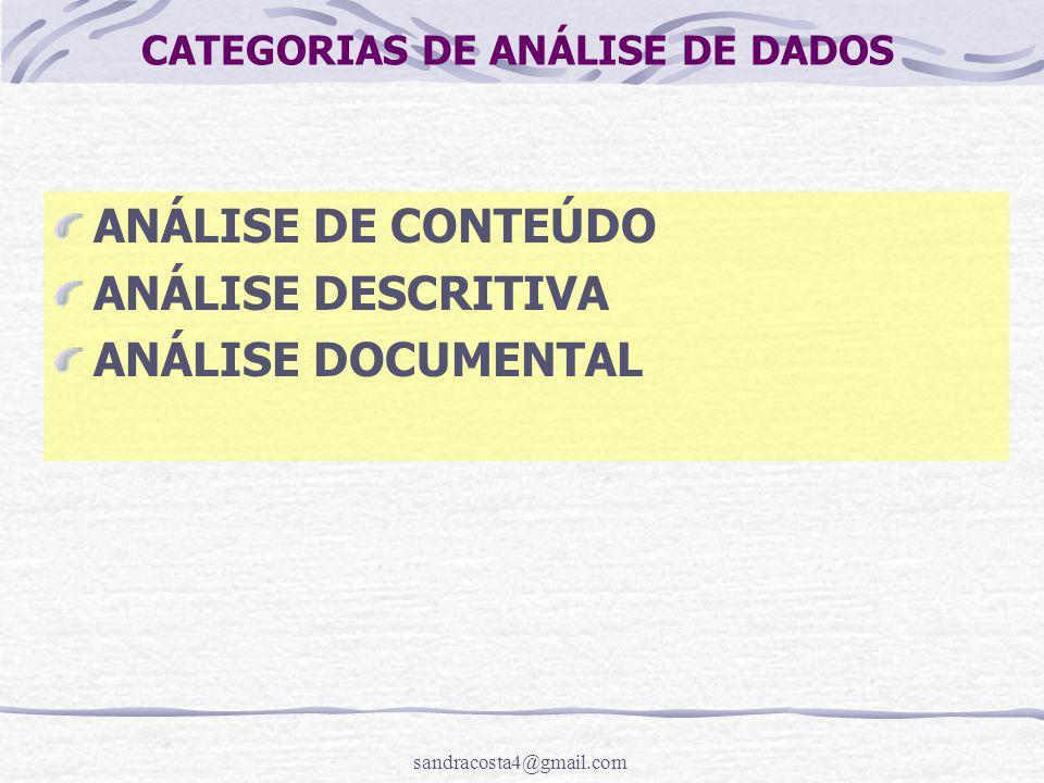 CATEGORIAS DE ANÁLISE DE DADOS