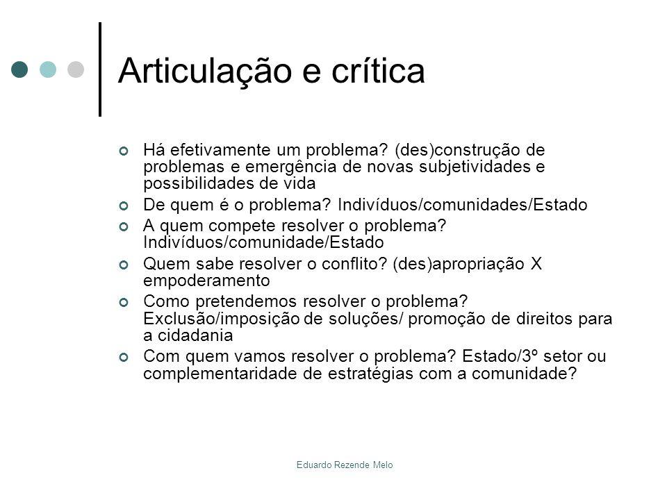 Articulação e crítica Há efetivamente um problema (des)construção de problemas e emergência de novas subjetividades e possibilidades de vida.