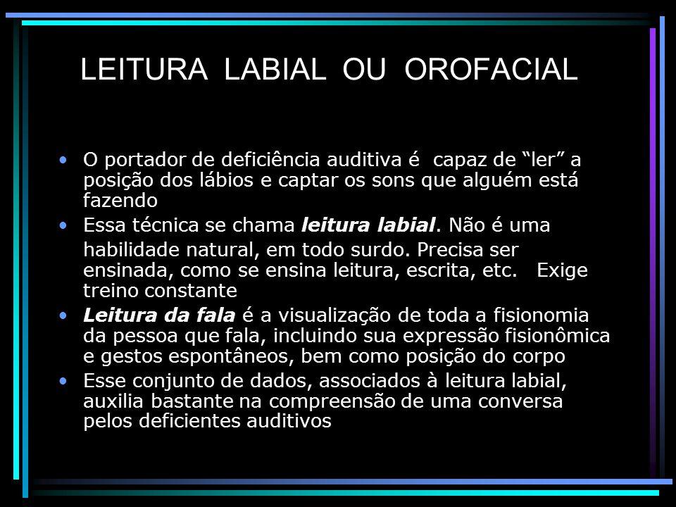 LEITURA LABIAL OU OROFACIAL